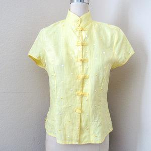 VINTAGE Embroidered Yellow Polka Dot Linen Top